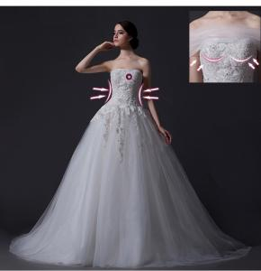 China Custom Detachable Strapless Mesh Appliques Wedding Dress with Diamond Beaded on sale