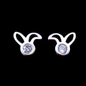 China Cute Animal Rabbit Earrings CZ Stone Simple Accessory 925 Silver Jewellery on sale