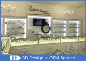 China Glossy White Used Jewelry Showcases / Jewellery Shop Showcase Design on sale