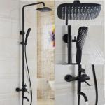 Antique Matte Balck Finished Bathroom Brass Mixer Shower Tap Set TS0685B