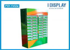 China Greeting Card Corrugated Cardboard Floor Display Stands 36 Cells Printing on sale