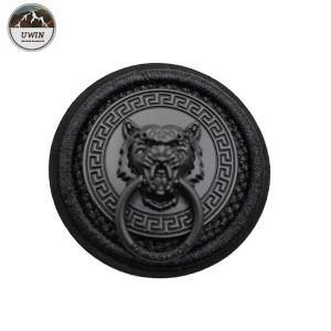China Round Jacket Custom 3D Rubber Patches , Embroidered Decorative Patches For Clothes on sale