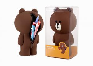 China Brown Bear Silicone Pencil Case Stationery Stereo Creative Pen Box With Logo Customized on sale
