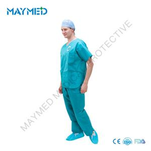 China Durable Antistatic SMS V - Neck Disposable Scrub Suits on sale
