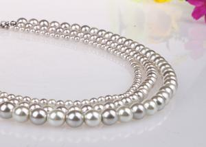 China Graduated Simple Costume Artificial Pearl Necklace Multi Strand White Color on sale