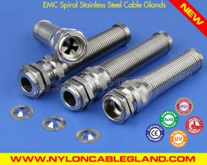 China EMC Spiral Stainless Steel Cable Glands IP68 with Standard & Elongated PG Thread on sale