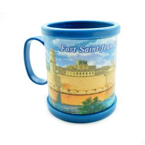 China Custom Plastic Mug Sublimation Printing Logo, Soft Touch PVC Rubber 2D Flat or 3D Embossed Logo For Option on sale