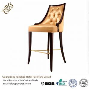 China Metal PU Leather Cushioned Hotel Bar Stools with Back / Footrest on sale