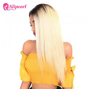 China 1B 613 Ombre Blonde Human Hair Lace Front Wigs Bleached Knots Swiss Lace on sale