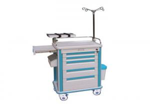 China IV Pole Medical Trolley ABS Hospital Emergency Trolley Cart With Dust Bin (ALS-ET117) on sale