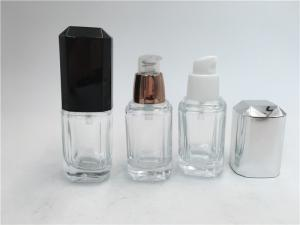China Skin Care Packaging Clear Glass Lotion Bottles With Plastic Airless Pump on sale
