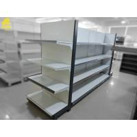 China Large Scale Supermarket Steel Racks Buckle Backing Heavy Duty Loading White Color on sale