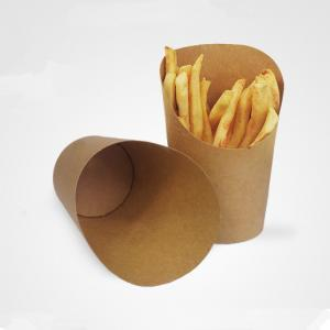 China Disposable kraft paper french fries cup, french fries scoop cup on sale