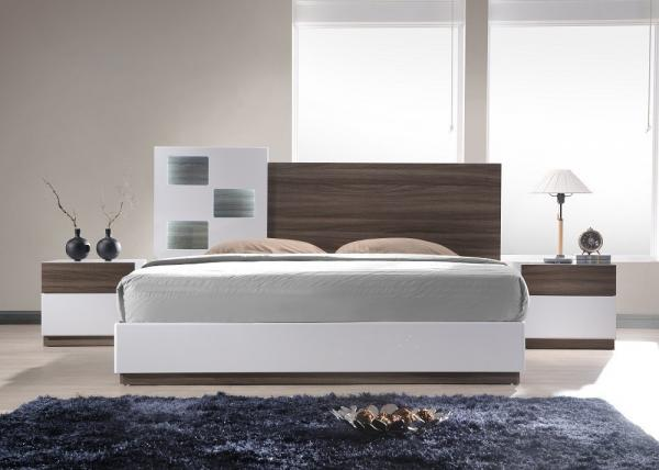 Acid Resistant White Gloss Bedroom Furniture With Walnut ...