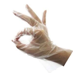 China Clear Stretchable Poly Food Service Gloves , Tpe Polythene Disposable Gloves on sale