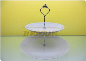 China Superwhite White Dinner Sets Two Tier Cake Stand For Present Finger Sandwiches Cupcakes Easy To Wash on sale