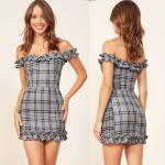 Gingham Linen Ruffle Shoulder off Dress for Women