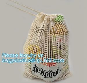 China Reusable Long Handle Cotton Net Produce Bag , Cotton Net Shopping Bags For Vegetables on sale