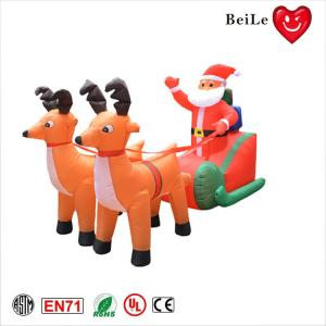 China Christmas festival decoration two inflatable reindeer pull sled with santa claus on sale