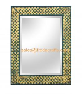 China FR-16045 High Quality  Grid Design Decorated Rectangular Sitting Living Room Wall Hanging Mirror on sale