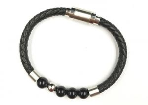 China Simple Personalized Leather Beaded Bracelets With Titanium Steel Magnetic Clasp on sale