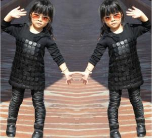 China Knit Black Winter Party Dresses For Girls , 7 To 8 Years Girl Dress Pu Leather Front on sale