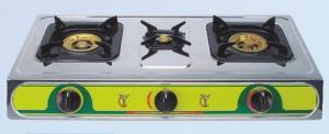 China Cuisinières à gaz triples d'acier inoxydable de brûleur, allumage automatique ETL-S217 on sale