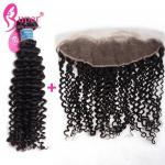 100% Virgin Human Deep Curly Extensions With 13x4 Swiss Lace Frontal