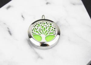 China Hollow Life Tree Essential Oil Diffuser Locket , Aromatherapy Essential Oil Diffuser Necklace on sale