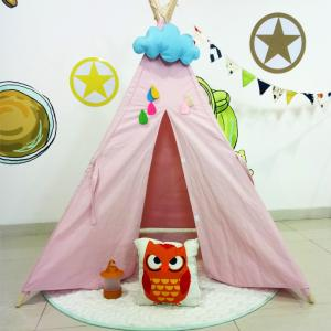China Wooden Pole Cotton Canvas Teepee Kids Play Tent Tipi Game House for Kids on sale
