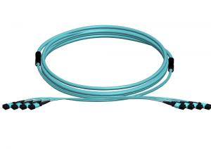 Quality Blue Single mode 12 Fibers MPO MTP Optical Patch Cord SM , MM , OMS for sale