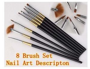 China NB-8S 8pc Wooden Fine Point Flat Acrylic Nail Art Tips Brush on sale