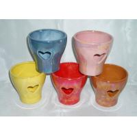 China Decorative Ceramic Flower Pots Wall Mounted / Hanging / Free Standing Handmade Shape on sale