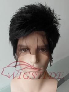 China Custom Lautner's Handsome Cool Hairstyle Short Straight Black Human Remy Hair Full Lace Wig 6 Inch on sale