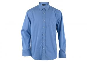 China Breathable Cheker Blue Mens Cotton Shirts Twill Fabric Type Skinny Style Sleeve on sale