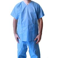 Dark Blue Disposable Protective Gowns, Unisex V Neck ScrubsFor Laboratory / Home Care