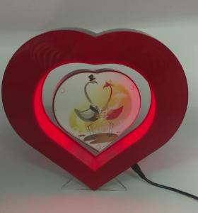 China led light red magnetic levitation photo frame display stand ,floating picture frame display racks on sale