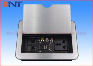 China HDMI Conference Room Table Electrical Outlets , Flip Up Desk Mounted Power Sockets on sale