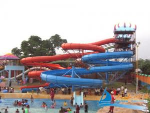 China Outdoor Family Entertainment 2 lane Spiral Slides Combination Amusement Park Water Slides on sale