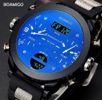 Boamigo Men Three Time Big Dial Pan Blue Glass Rubber Band Multifunction Chronograph Casual Sport Watch  F905