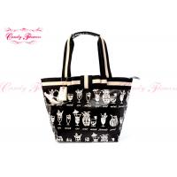 Black White Canvas Womens Tote Bags / Ladies Handbags with pockets