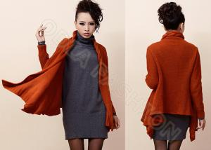 China Red Long Sleeve Flashion Womens Cardigan Sweaters with Twist Collar Knitwear on sale