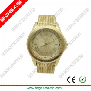 China Unisex Gold Color Analog Watches , Mesh Screen Band on sale