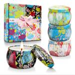 Custom Retro Patterns Travel Metal Jar Scented Candle Tin Candle Gift Sets