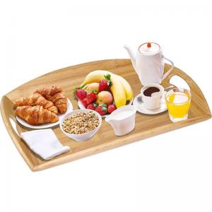 China extra large bamboo wood bed serving tray with oval handle on sale