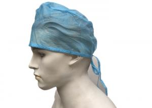China Blue Green Disposable Operating Room Hats , Surgical Doctor Head Cap With Tie on sale
