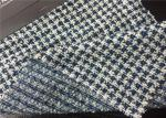 20 Wool Fancy Tweed Wool Fabric Blue / White Color For Garments