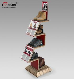 China Comfortable Inspire Shoe Store Wooden Display Racks Sneaker Display Shelves on sale
