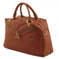 Elegant Beige Duffle Ladies Leather business bags With Mobile phone holder OEM
