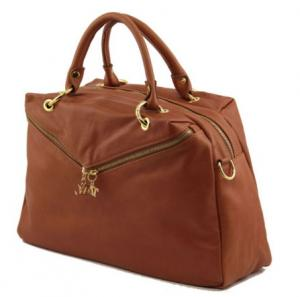 China Elegant Beige Duffle Ladies Leather business bags With Mobile phone holder OEM on sale
